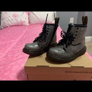 Silver Glitter Dr. Marten boots